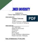 Career opportunities of finance
