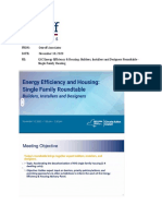 CAC Energy Efficiency and Housing Builders Installers and Designers Roundtable, Single Family Housing