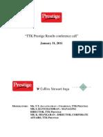 TTK Prestige Q3FY11 Transcript