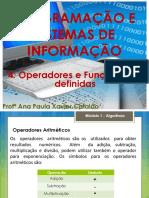 04 LP - 1ºano - Operadores e Funções Pré-definidas