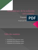 methodologie de la recherche universitaire