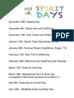 spirit days and dates