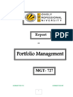 Project Report on Portfolio Management (MGT--727)