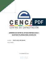 Diferencias Entre El Estado Republicano y El Estado Plurinacional de Bolivia