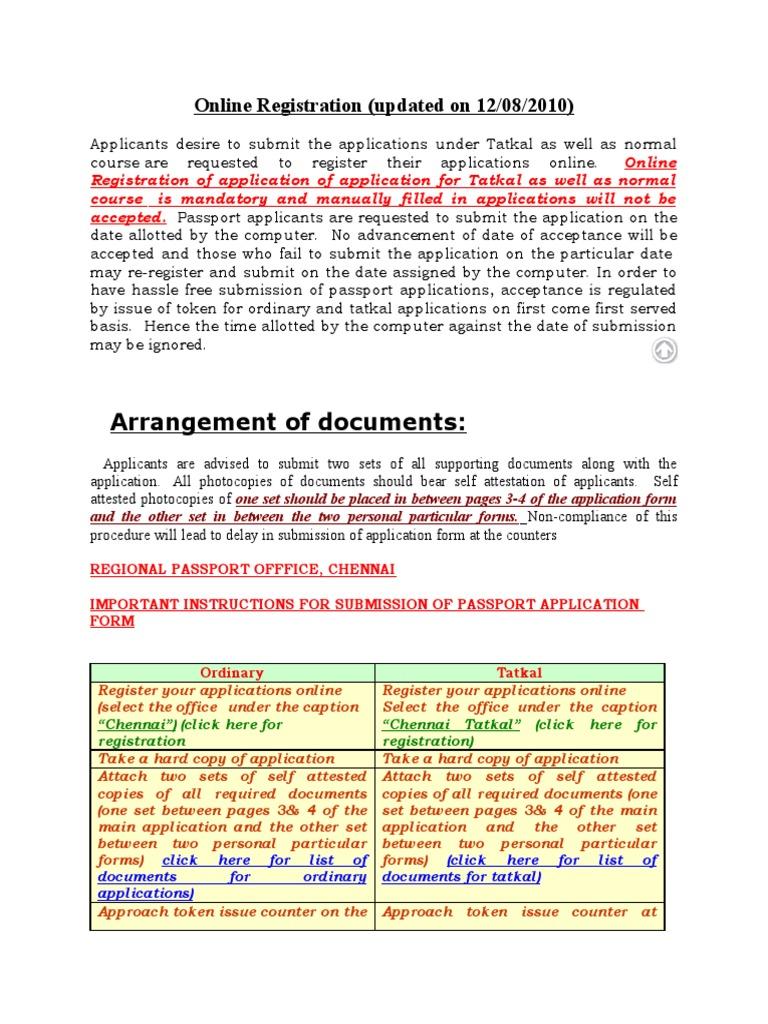 Online registration tatkal information identity document passport falaconquin