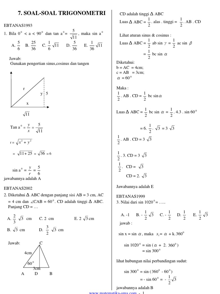 7 Soal Soal Trigonometri 2