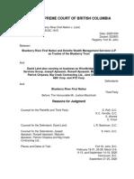 Judge Macintosh, Re Blueberry River First Nation v. Laird, 10-30