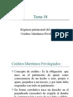 Tema 18 - Régimen patrimonial del naviero Créditos marítimos privilegiados