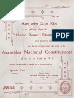 Algo Sobre Entre Ríos y su Primer Diputado Dr. Ramón Eduardo Anchoris - José Ignacio Yani