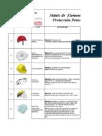 Matriz de elementos de proteccion EPP