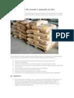 Almacenamiento del cemento y agregados en obra