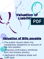 Valuation of liabilities and Company Audit