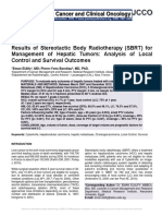 Results of Stereotactic Body Radiotherapy (SBRT) for Management of Hepatic Tumors