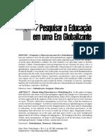 Pesquisar a Educação Em Uma Era Globalizante_Susan Roberstson e Roger Dale