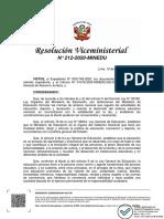 RVM N° 212-2020-MINEDU TUTORÍA Y ORIENTACIÓN EDUCATIVA