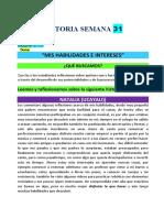 SESION DE  TUTORIA . 1° y 2° SEMANA 31
