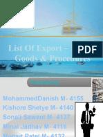 List Of Export Import Goods And Procedure