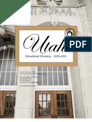 2010-2011 Utah Educational Directory   Schools   Further