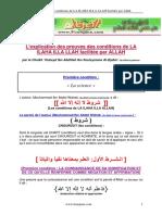 L'explication des preuves des conditions de LA ILAHA ILLA LLAH facilitée par ALLAH