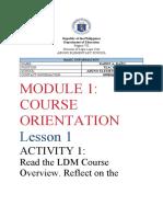 LDM2- MODULE 1 ACTIVITIES