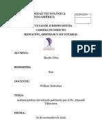 Análisis jurídico del artículo publicado por el Dr. Alejando Villanueva