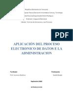 APLICACION DEL PROCESAMIENTO ELECTRONICO DE DATOS EN LA ADMINISTRACION sara