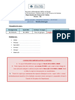Sujet Examen S2 Méthodologie M1 MRH (Bellache)