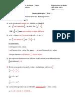 COURS- FICHE 1 Calculs algebriques