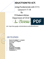 II&CT Lecture  17-18  Programming fundamentals in C++  ( variables & Data Types final