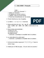 P2 Juin 2020 Dossier de français