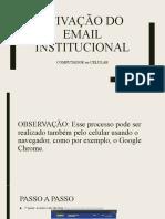 ATIVAÇÃO DO EMAIL INSTITUCIONAL UNIP