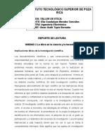 REPORTE DE LECTURA LA ETICA EN LA CIENCIA