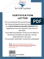 CERTIFICATION- APPEALS & INJUNCTIONS