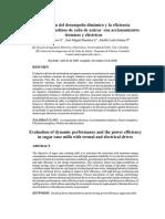 Evaluación del desempeño dinámico y la eficiencia energética en molinos de caña de azucar