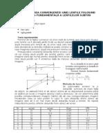 Determinarea convergentei unei lentile folosind formula fundamentala a lentilelor subtiri