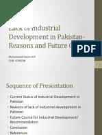 Lack of Industrial Dev in Pakistan