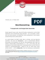 Beschlussantrag Tscherms / Transparente und bürgernahe Gemeinde
