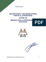 INSTRUCCIONES Y RECOMENDACIONES FRENTE AL CORONAVIRUS (COVID-19) MEDIDAS PARA LA PREVENCIÓN DE CONTAGIOS