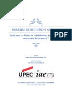 Memoire de recherche applique - Quels sont les léviers de la fidélisation de clients dans une société E-commerce ?