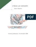 2020.09.13 Algebra lineare, per matematici - Marco Manetti