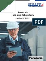 Panasonic Heiz- Und Kühlsysteme. Preisliste 2018_2019