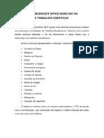 UTILIZAÇÃO DO MICROSOFT OFFICE WORD 2007 NA CONSTRUÇÃO DE TRABALHOS CIENTÍFICOS