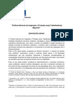 Proposta de Politica Nacional de Imigracao aprovada pelo CNIg em 2010