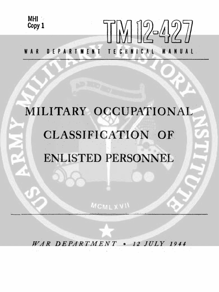 Tm 12 427 Military Occupational Classification Fo Enlisted Personnel Faultfinder Short Open Circuit Finder And Tracer 6 To 42 July 1944 Baking Foods