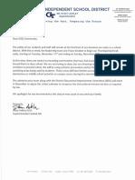 Goliad ISD letter on Early Thanksgiving Break 2020