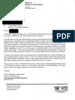 Letter Regarding Tyrone White's Parole