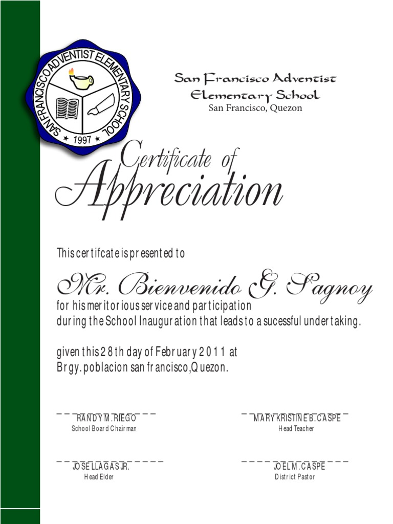 Certificate of appreciation sfaes yelopaper
