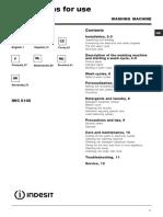 Manual de utilizare masina de spalat Indesit