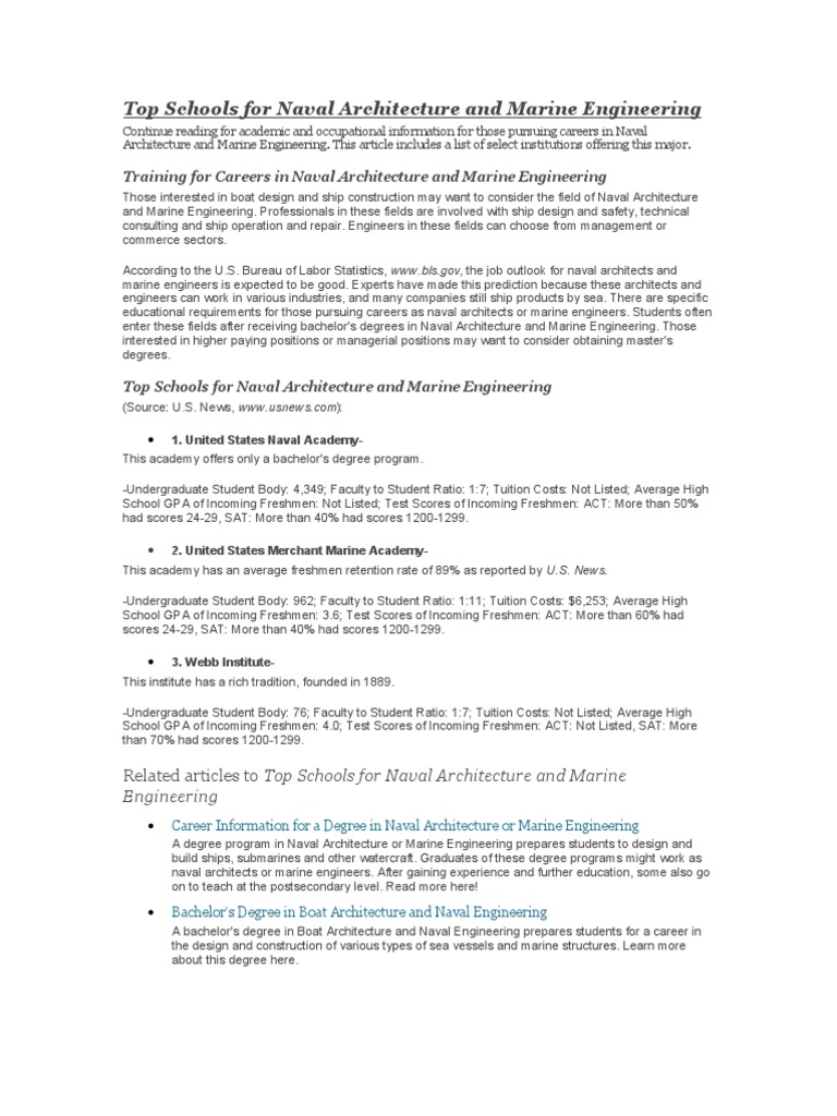 Naval Architecture Schools | Academic Degree | Bacheloru0027s Degree