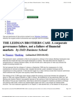 THE LEHMAN BROTHERS CASE A corporate governance failure, not a failure of financial markets - Finance - Banking